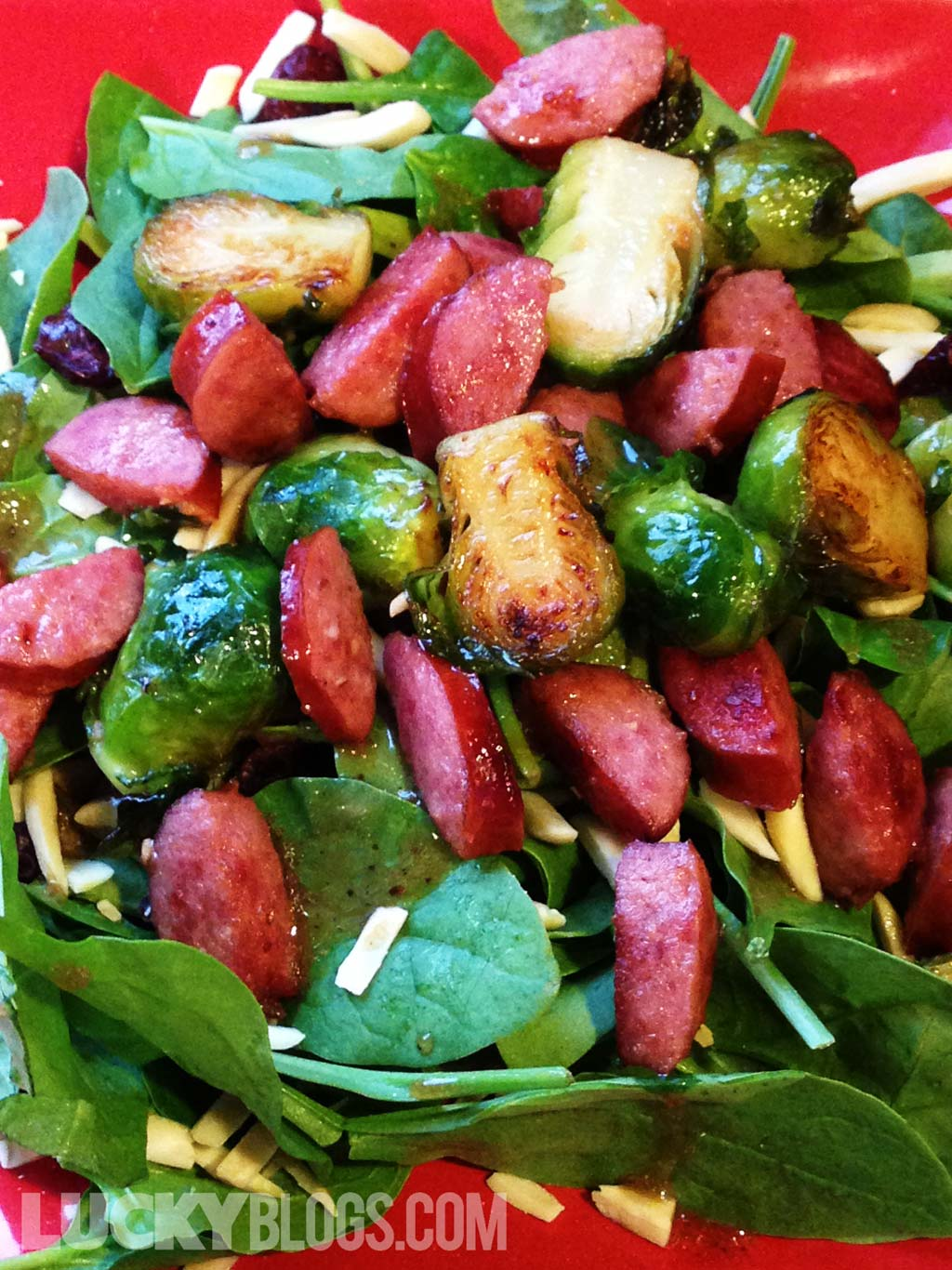 Brussel sprouts smoked sausage spinach