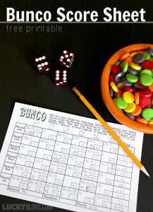 Bunco score sheet free printable