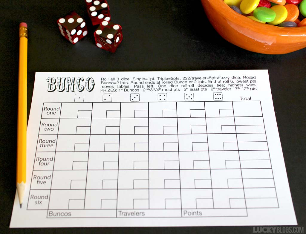 Bunco score sheet free printable rules